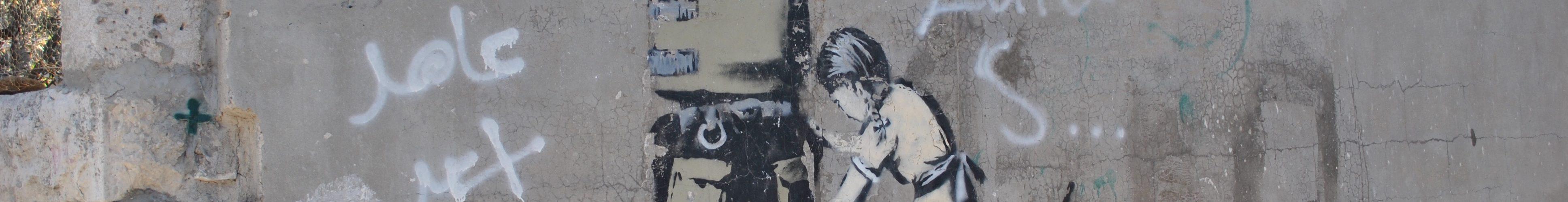 Målning av en flicka som muddrar en israelisk soldat